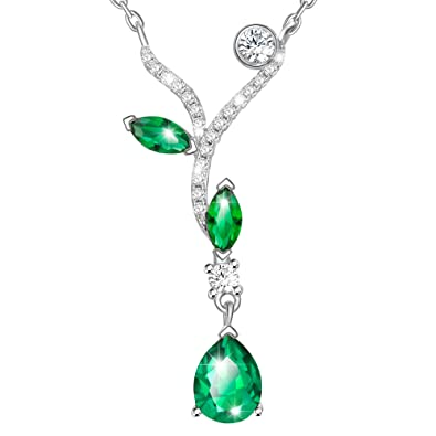 Dawanza-Mother's Day Gifts Necklace for Women-Tree Branches Green Crystal Pendant-Emerald Imitation lYfBQ33