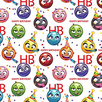 Image Unavailable Not Available For Color Trendy Emoji Happy Birthday Gift Wrap