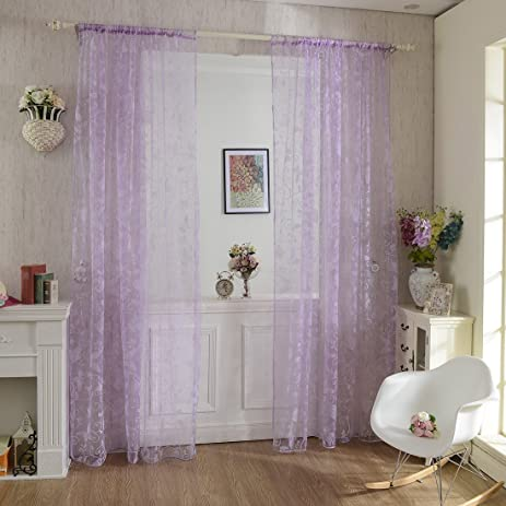 Haoun 2pcs Butterfly Window Panels Drapes Curtains Sheer Voile Tulle Home  Room 39.4x78.8u0026quot