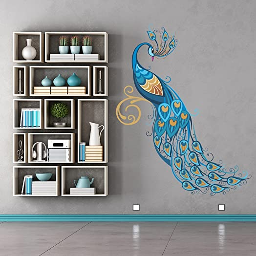 Superieur Blue Peacock Wall Sticker Birds U0026 Feather Wall Decal Art Girls Living Room  Decor Available In