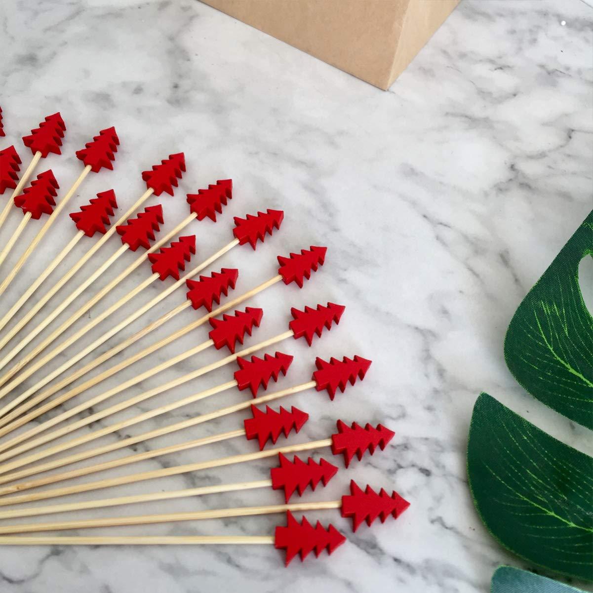 UPKOCH 100 piezas de c/ócteles de navidad palillos de aperitivo de bamb/ú palitos de c/óctel de frutas con cuentas suministros para fiestas