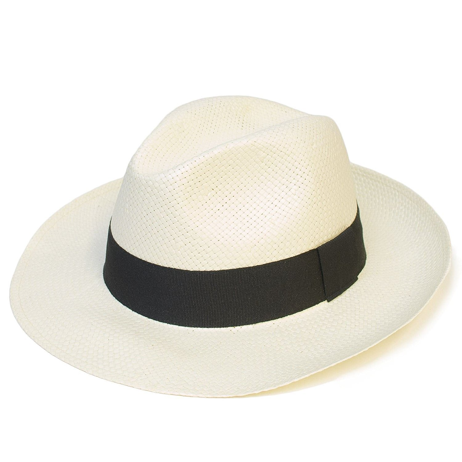 Mens Women Ladies Unisex Summer Plain Woven Panama Hat With Black Band d2d Hats 3406-3444