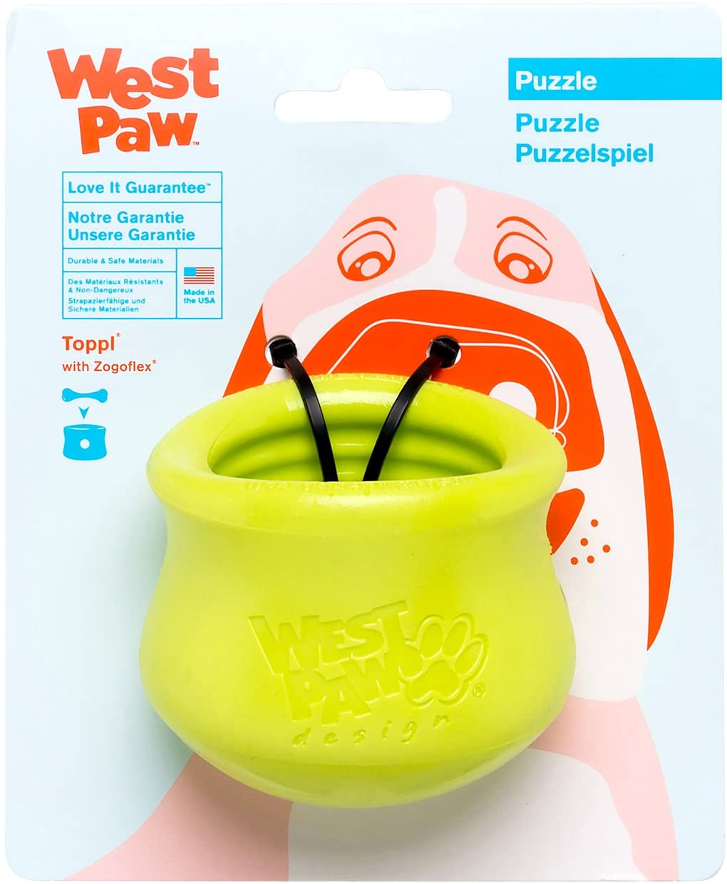 Catch Interactive Chew Toys for Dogs Made in USA Holds Kibble Dog Toy for Moderate Chewers Fetch WEST PAW Zogoflex Toppl Treat Dispensing Dog Toy Puzzle Dog Training Treats