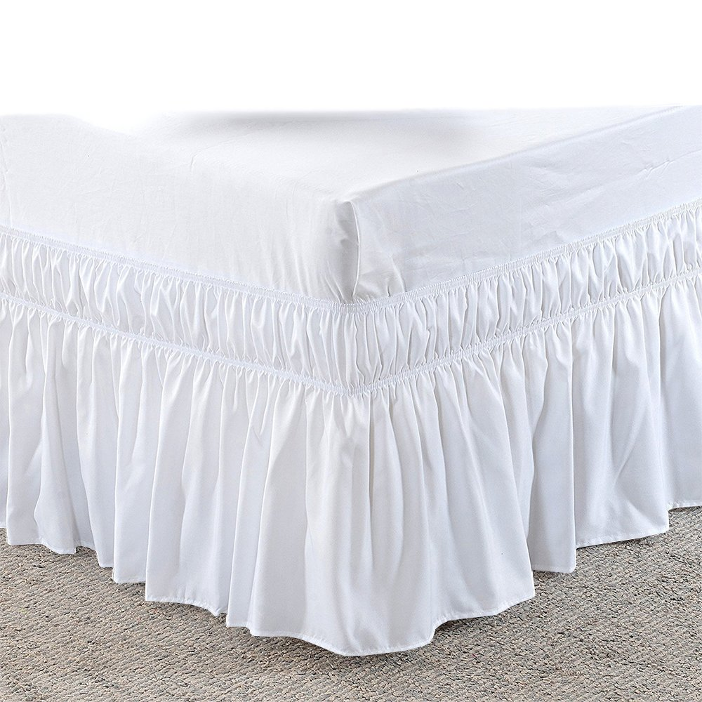 Rajlinen Wrap Around Bed Skirt -Polyester/Microfiber Elastic Dust Ruffle Three Fabric Sides Silky Soft & Wrinkle Free Classic Stylish Look in Your Bedroom (White, Full /21) by Rajlinen