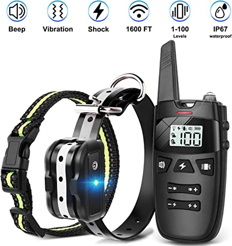 Dog Training Collar with Remote Shock Collar for Dogs UP to 1600 Ft Range,Rechargeable Waterproof Shock Collar with Vibration Shock Beep 1-100 Levels,2 Adjustable Collar for Small Medium Large Dogs