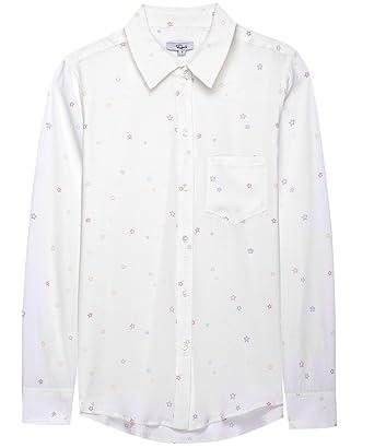 091820e319a409 Amazon.com: Rails Women's Silk Kate Pastel Star Print Shirt White L ...