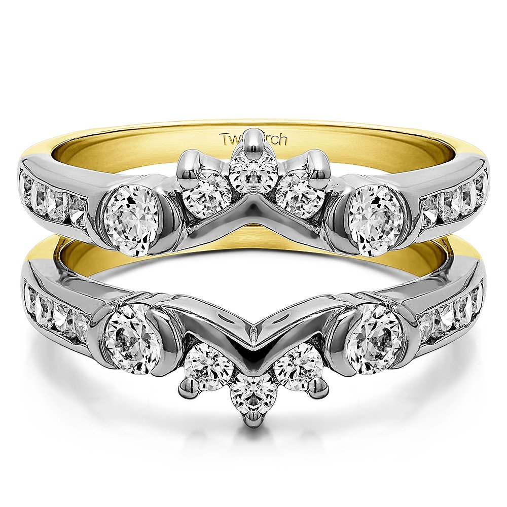 TwoBirch 1 ct. Cubic Zirconia Half Halo Classic Style Ring Guard in Sterling Silver (1 ct. twt.) by TwoBirch (Image #6)