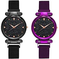 GREAT WORK Casual Designer Black Dial Combo of Magnet Watch - Pair of 2 - for Girls & Women - Purple & Black (Purple and Black)