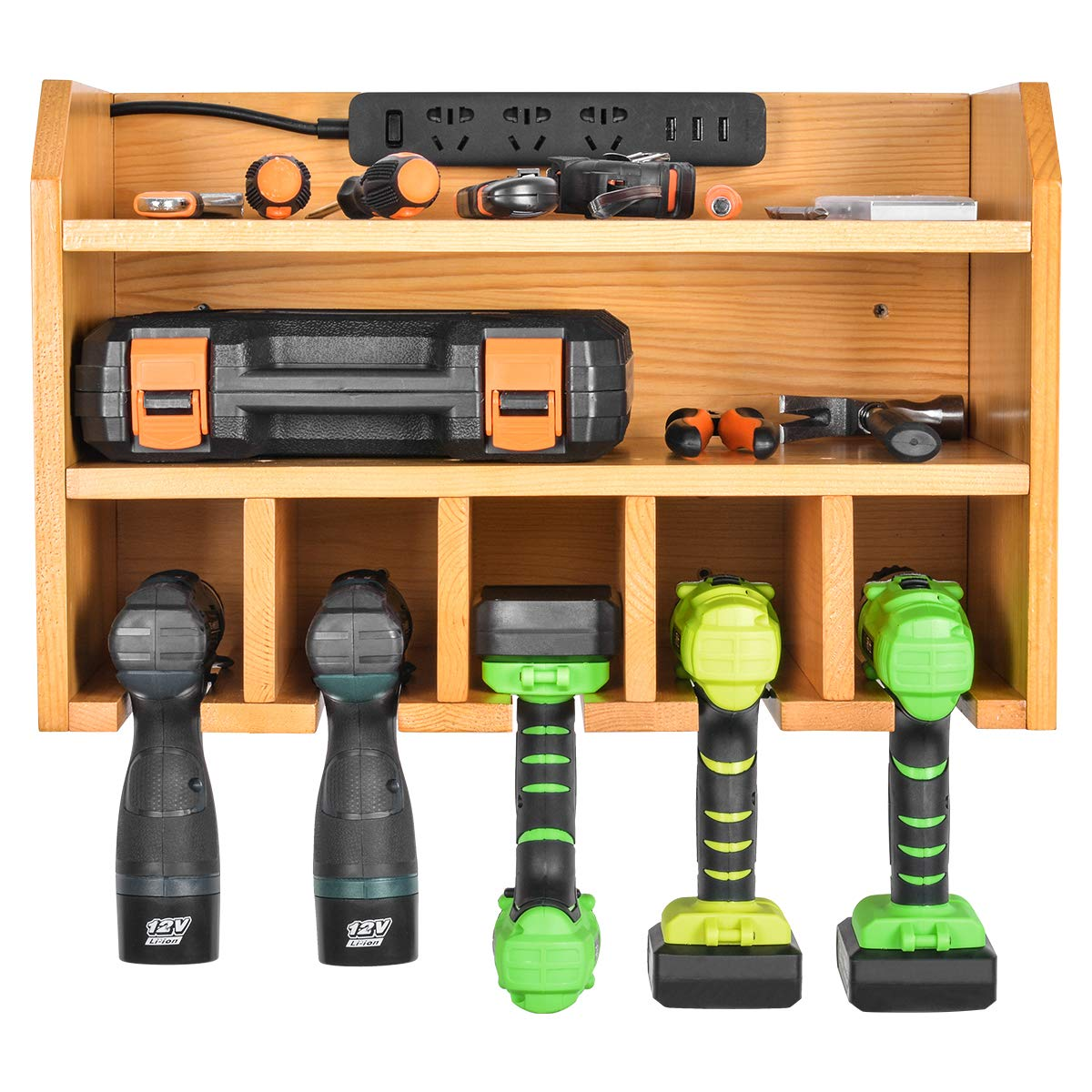 Power Tool Organizer, Sunix Power Tool Charging Station Drill Wall Holder Wall Mount Tools Garage Storage (Power Strip is Not Included) by Sunix