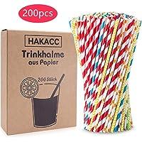 200 Pcs Pajitas de Papel Biológico Multicolor Pajitas