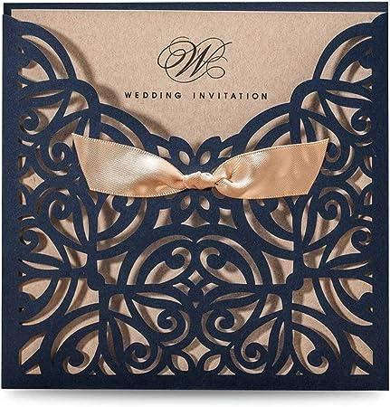 Cartoncino Per Partecipazioni Matrimonio.Wishmade 50pz Taglio Laser Partecipazioni Matrimonio Blu Con