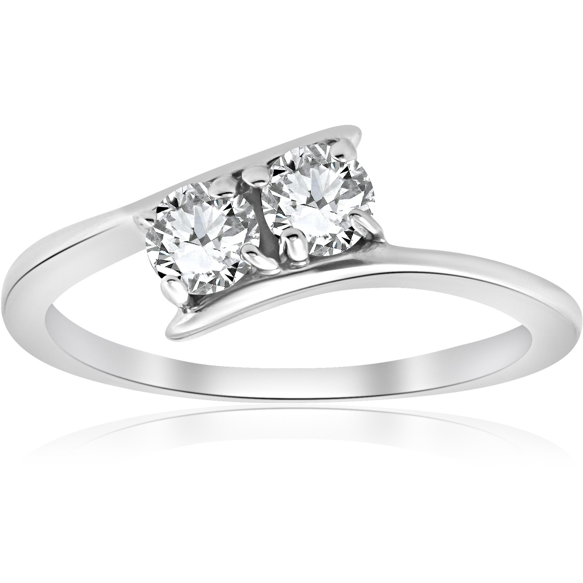 1/2 ct Two Stone Diamond Forever Us Engagement Ring 10k White Gold - Size 8