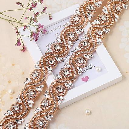 Wedding Rhinestone Trim Appliques by the Yard for Bridal Belt Sash or Wedding  Dresses-Rose 2fdcb2236d11