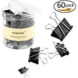 60 Pieces Binder Clips Paper Clips,1.6 inches, 1.25 inches, 1 inch, 0.75 inch, Assorted 4 Sizes,Black
