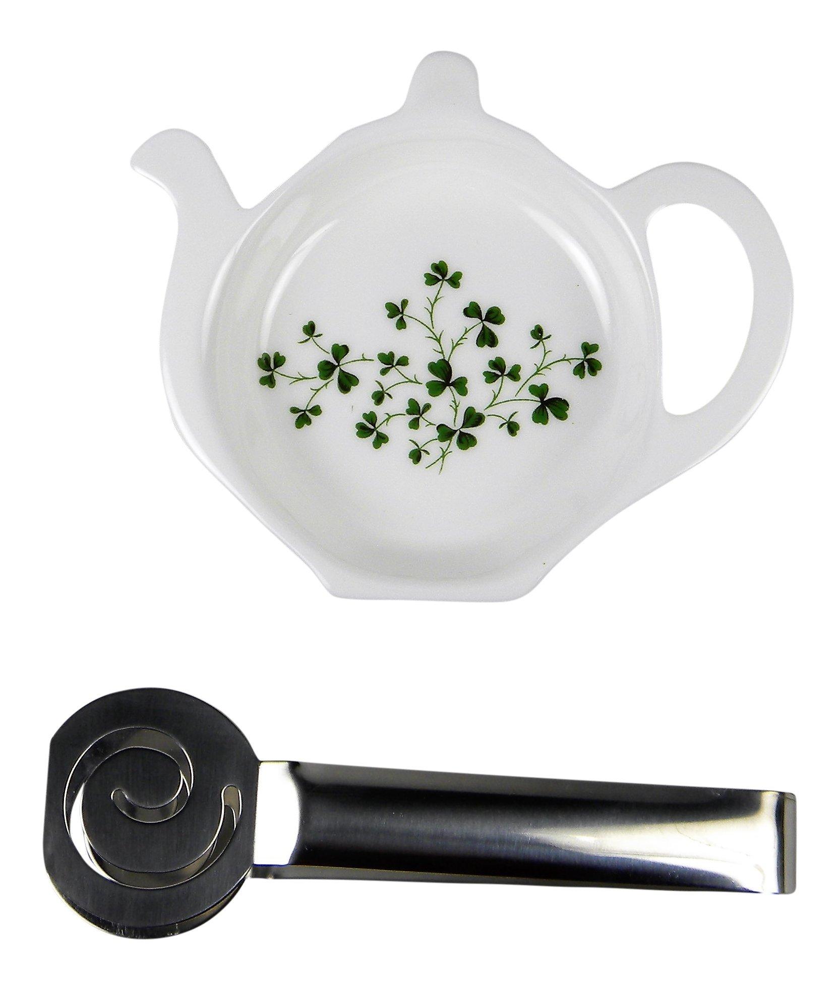 Adderley Bone China Tea Bag Coaster Caddy and Stainless Steel Tea Bag Squeezer England - Shamrocks