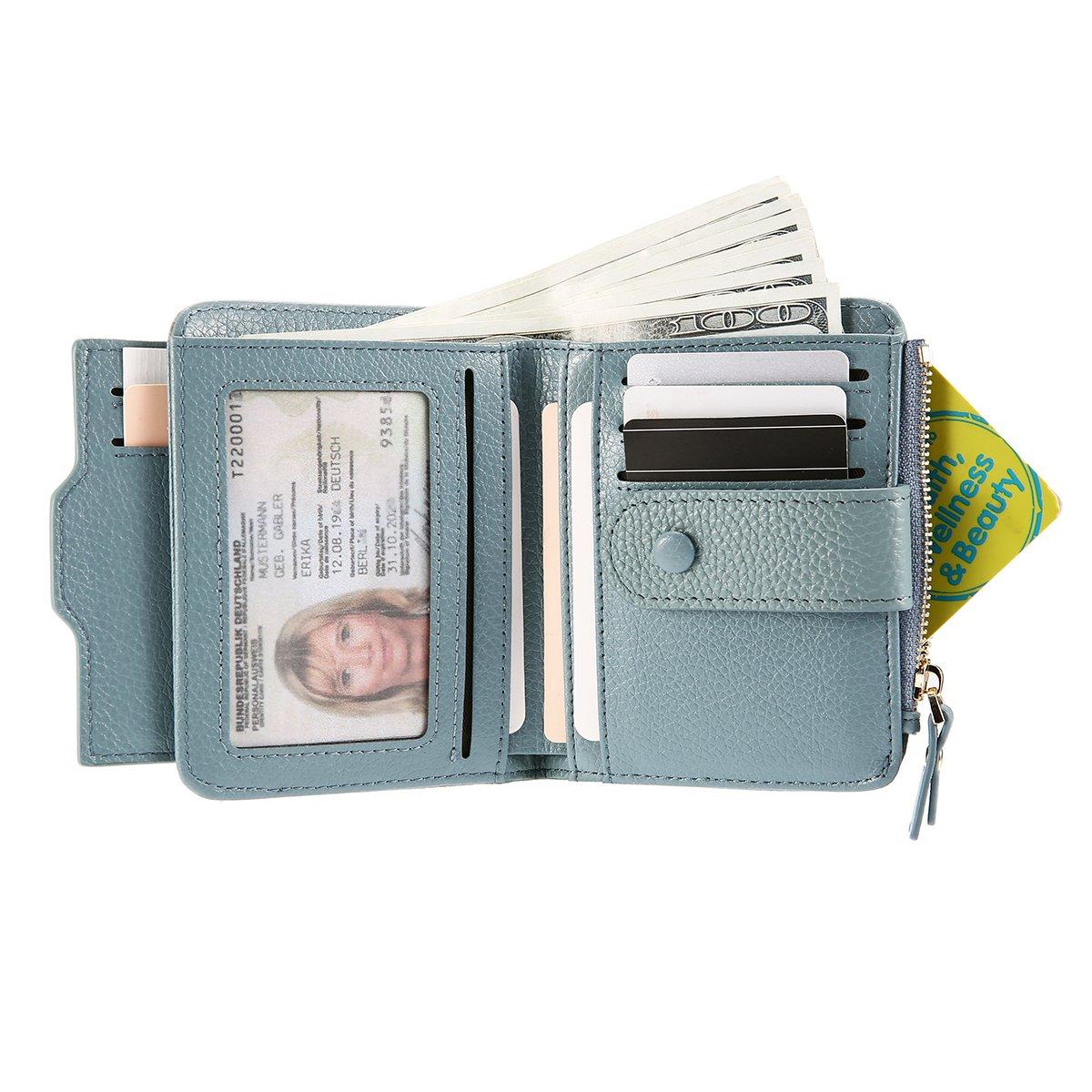 JOSEKO Leather Wallet Card Holder, Tassel Genuine Leather Multi-Slots Small Wallet Card Holder Purse for Women Light Blue 3.74''x0.79''x4.84'' (L x W x H)