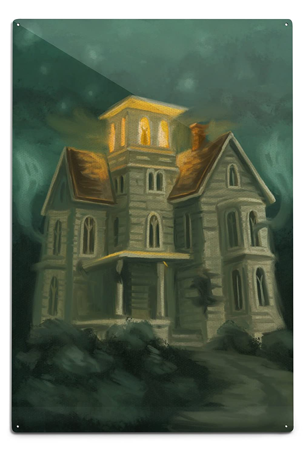 Haunted House – ハロウィン油彩画 12 x 18 Metal Sign LANT-76347-12x18M B06Y1H24PM  12 x 18 Metal Sign