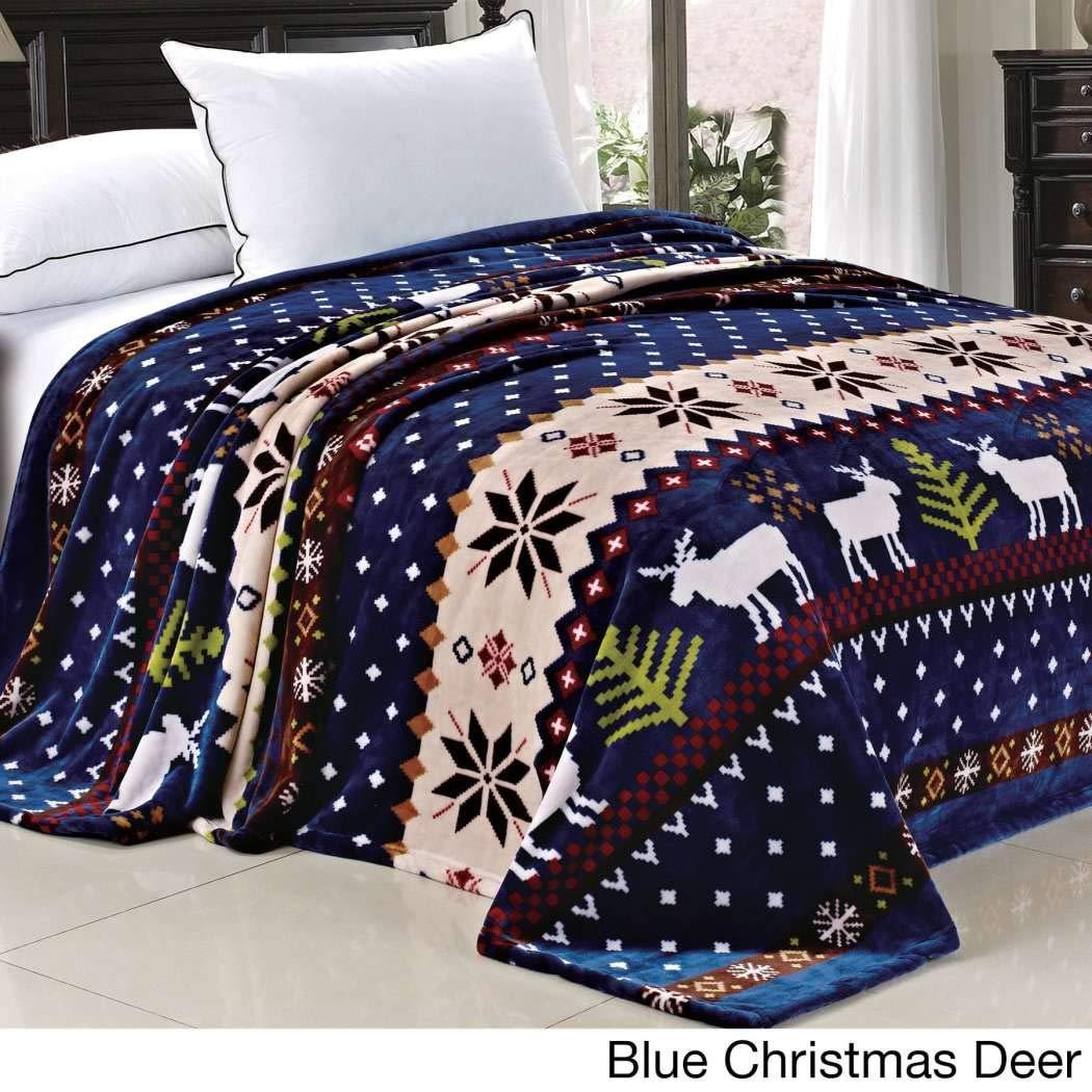 1 PieceタンレッドブルーSouthwest毛布クイーン、部族Southwestern寝具Native American鹿スノーフレークアステカストライプ、ハンティングテーマクリスマスキャビンロッジCottage、フランネルフリースポリエステルブラウン B01N5VTHZK