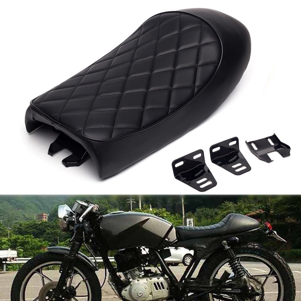 Triclicks Motorcycle Seat Rhombus Lattice Style Vintage Saddle Cafe Racer Cushion Seat for Honda CB CB350 CB450 CB750 Yamaha SR XJ Suzuki GS - Black