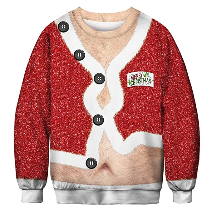 MISSMAOM Christmas Sudaderas sin Capucha Jumper Sudaderas Divertidas para Hombre para Mujer Unisex Ugly Sweater 3D imprimió Xmas Graphic Jersey Santa: ...