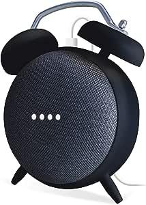ELECOM-Japan Brand- Clock Stand Speaker Mount Holder/Compatible with Google Home Mini and Nest Mini/Protective Case Black AIS-GHMCLBK
