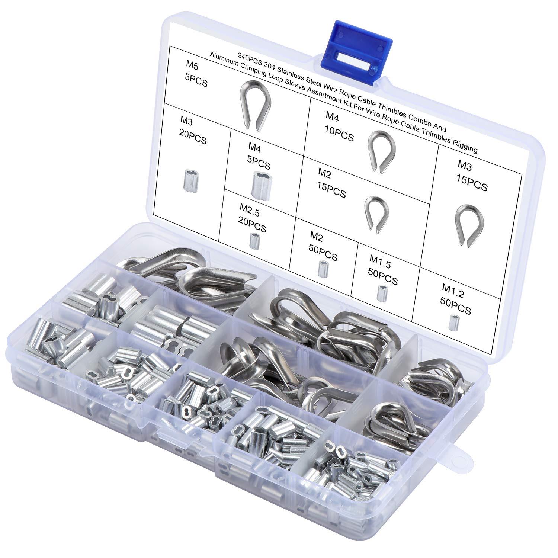 Kit de engarzado de cables de acero de 240 piezas, juego de terminales de alambre de acero inoxidable 304 y crimpadoras