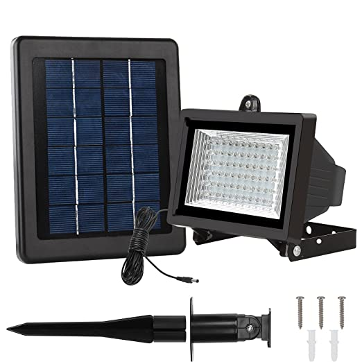 LTE 60 LED Solar Lights, Outdoor Security Floodlight, 300 Lumen, IP65 Waterproof, Auto-induction, Solar Flood Light for Lawn, Garden