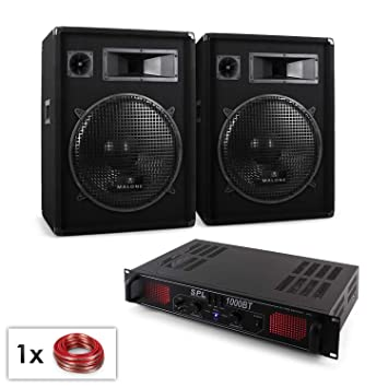 "PA Set""Malone Bluetooth SPL"" dos altavoces amplificador bluetooth (1000 W, subwoofer"
