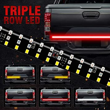 Red Brake White Reverse Amber Turn Signal Strobe Light with 4-Way Flat Connector Wire 60 Inch Tail Strip Light Bar for Trucks Pickup Trailer SUV RV VAN 504LEDS Triple Row Tailgate Light Bar
