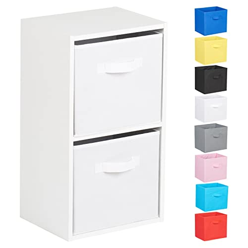 Hartleys 2 Tier White Cube Unit - Choice of Storage Boxes
