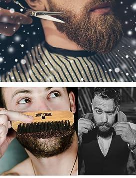 Barba Cepillado Kit Barba Cepillo Peine Modelador Tijeras Set De Afeitar Para Hombres Kit De Cuidado De Bigote Para El Hogar Y Viajar Con Caja De Madera ...