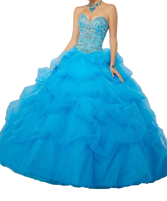 bluee TuanYuan Sweetheart Women Rhinestone Ball Gowns Vestido de Quinceanera with Half Sleeve Jacket