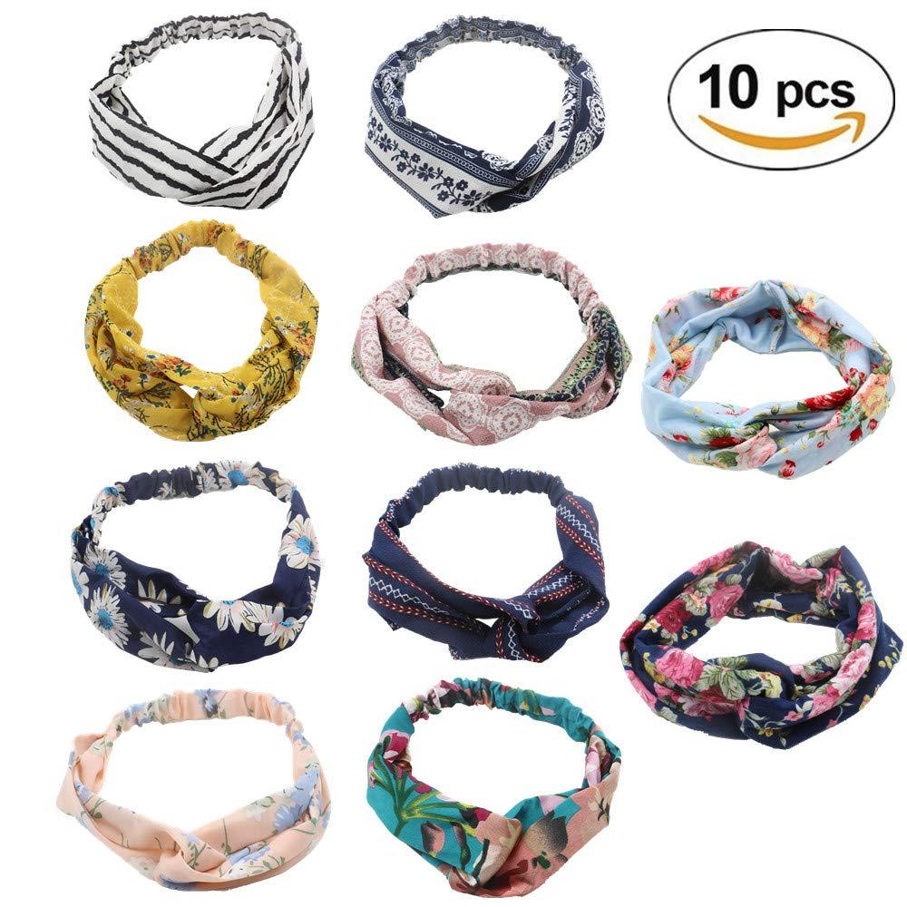 10 Pack Headbands for Women Floral Print Headwrap Twist Knot Hairband Yoga Head Wraps Sports Elastic Turban (10-color) Sotica