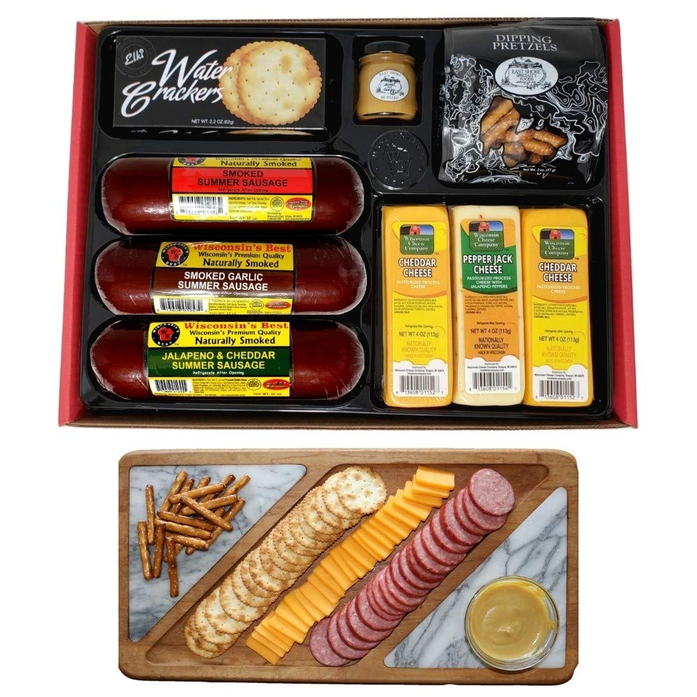 WISCONSIN'S BEST and WISCONSIN CHEESE COMPANY, Party Gift Basket - 100% Wisconsin Cheeses, Sausage, Crackers, Pretzels & Mustard, Best Birthday Gifts, Easter Gift. with Amazon Prime!