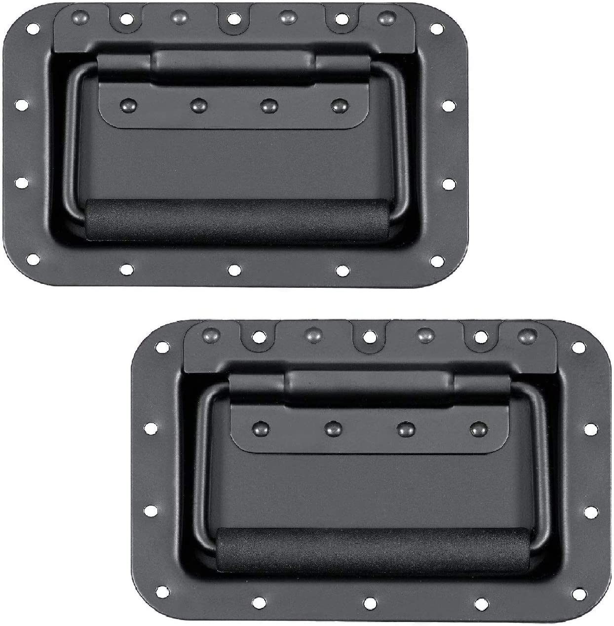 1 Pair MIYAKO USA Set of 2 Spring Loaded Speaker Cabinet Handles 5.5 x 3.9 inches with recessed Back Black Metal