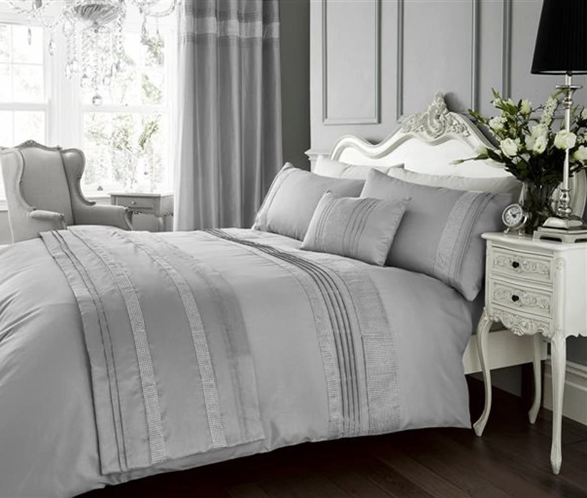 Double Duvet Set with Matching Curtains Diamante Bling Silver Grey