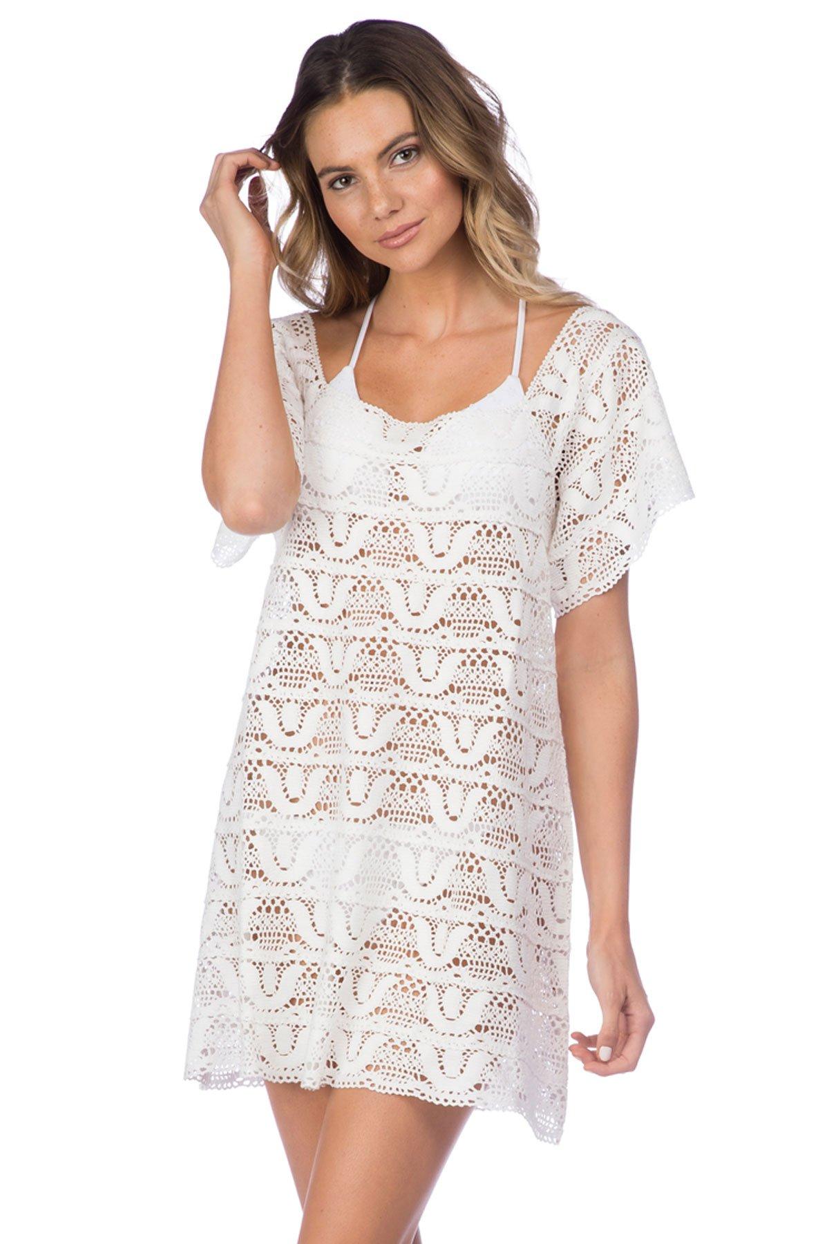 Nanette Lepore Women's Crochet Covers Short Dress, White, Medium