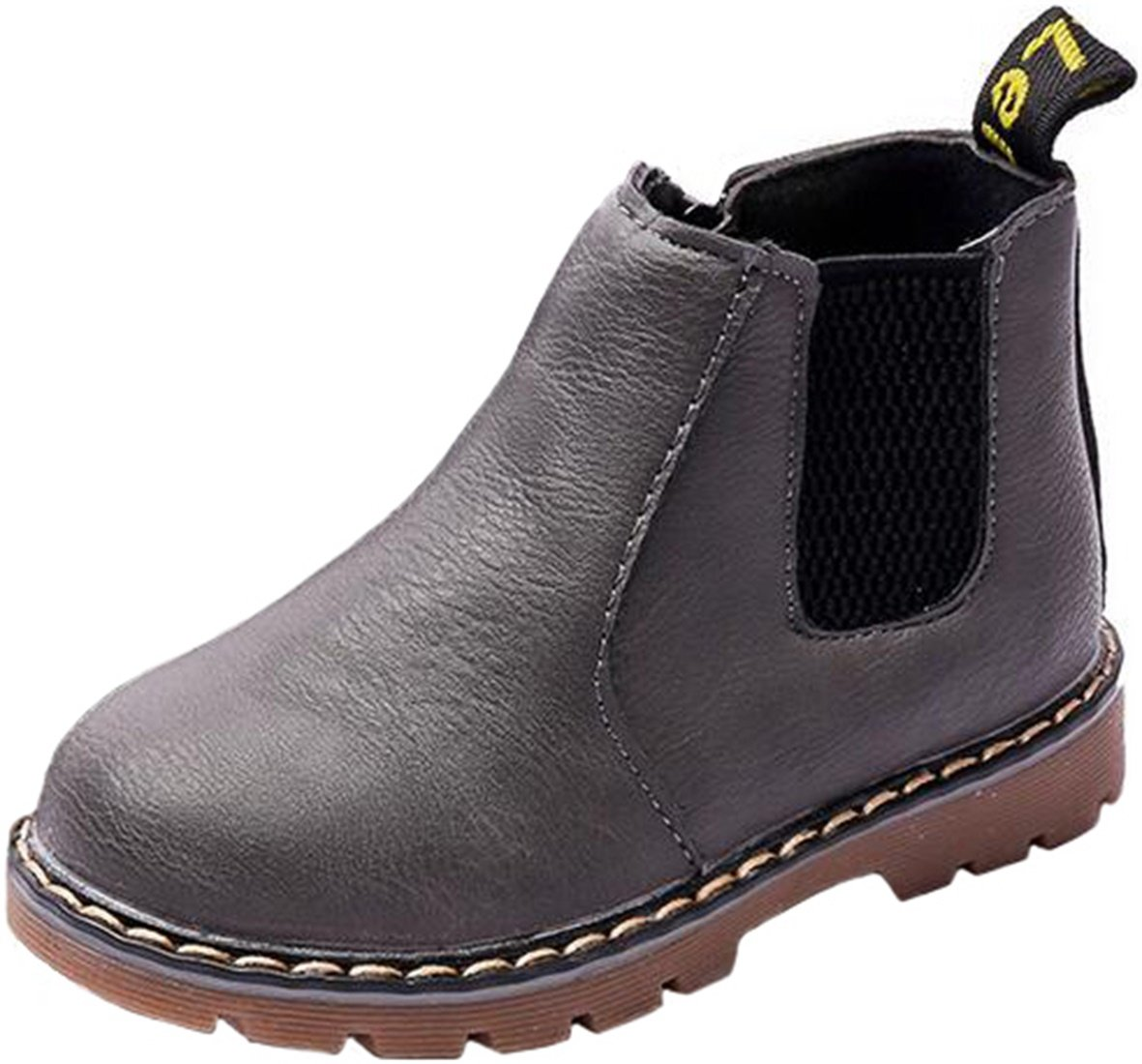 PPXID Boy's Girl's British Waterproof Plush Inside Snow Boots(Baby/Toddler/Little Kid/Big Kid)-Gray 2 US Size