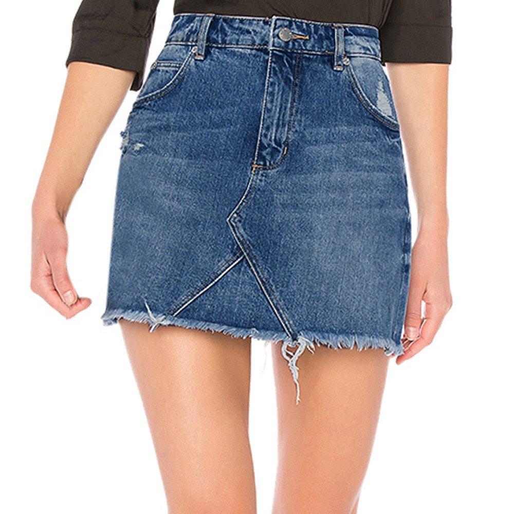 FZZ698 Jeans, Women Raw Edge High Rise Pocket Skinny Demin Skirt (L)