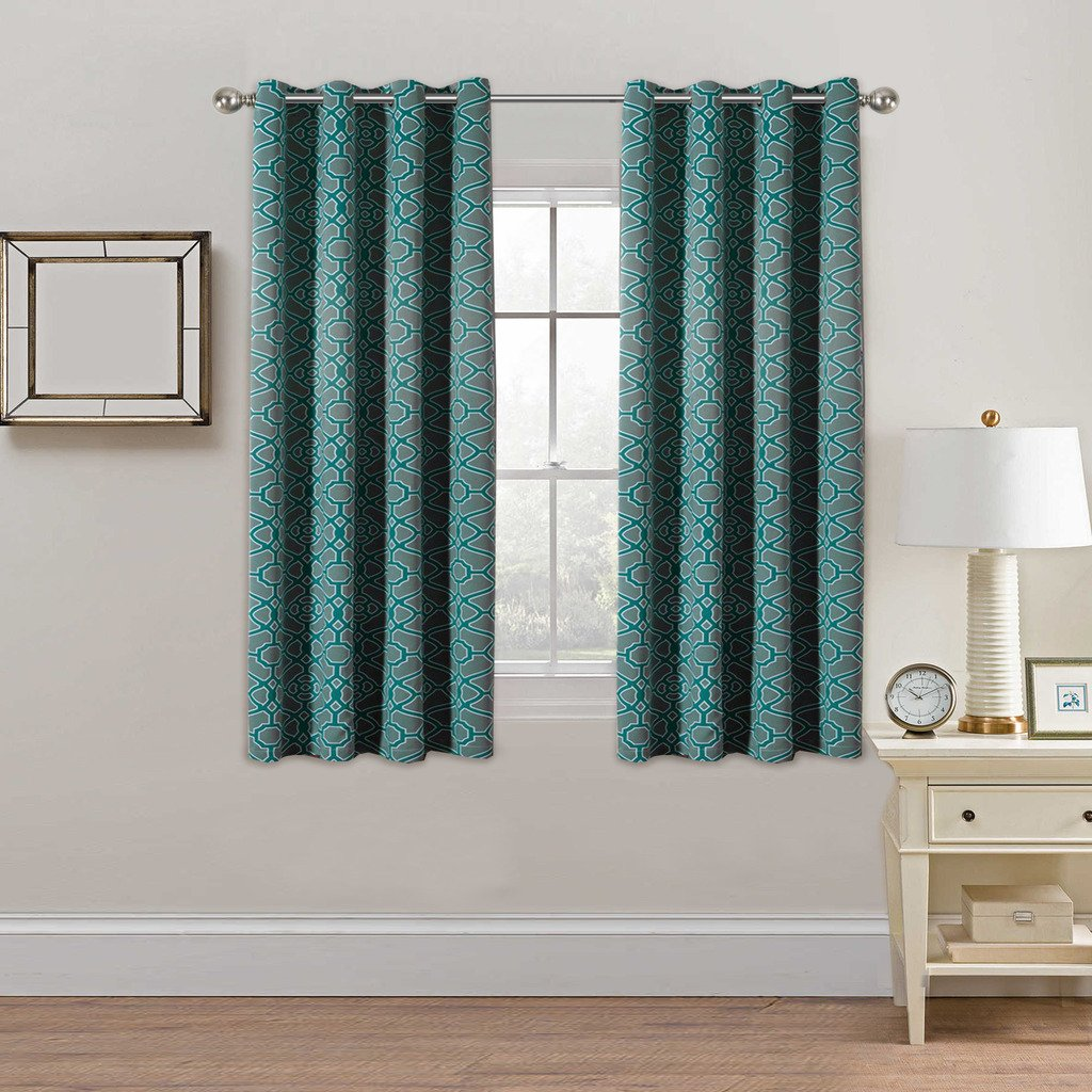 Printed Blackout Room Darkening Curtains Teal and Grey Color Pattern