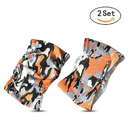 PETCUTE Camuflaje Envolturas Para Pañales de Perro Macho Lavable (paquete de 2) Comodidad Mascota