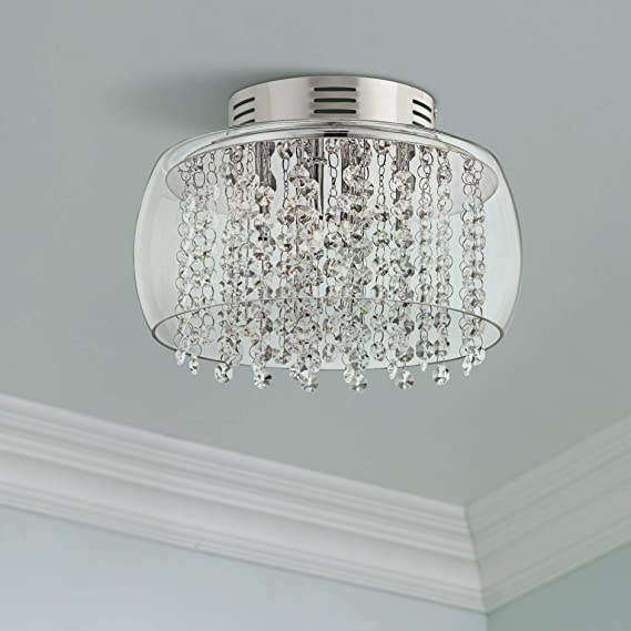 Crystal Rainfall Contemporary Modern Ceiling Light Flush Mount Fixture Chrome 11 Wide Clear Glass Drum Shade For House Bedroom Hallway Living Room Bathroom Dining Kitchen Possini Euro Design Flush Mount Ceiling Light Fixtures Amazon Com