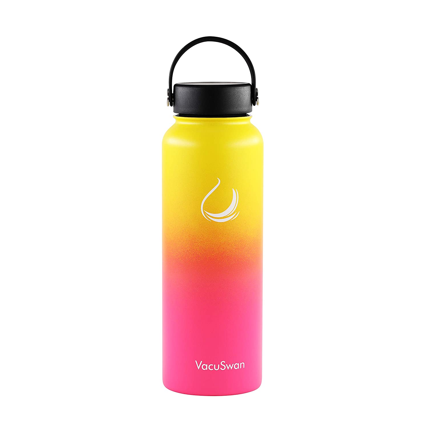 VacuSwan Double Wall Vacuum Insulated Stainless Steel Color Changing Sports Water Bottle Wide Mouth with BPA Free Straw Lid and Flex Cap