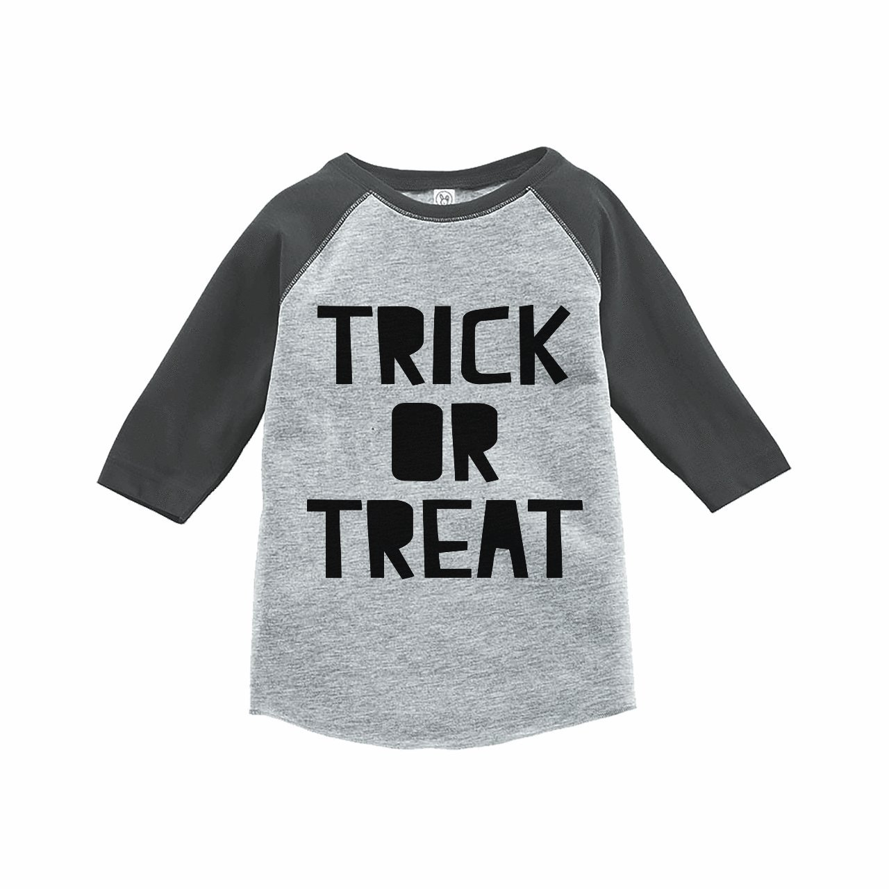 7 ate 9 Apparel Kids Trick or Treat Halloween Raglan Tee Grey