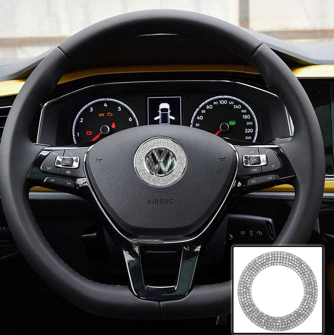 TopDall Steering Wheel Bling Crystal Shiny Diamond Accessory Interior Sticker for VW