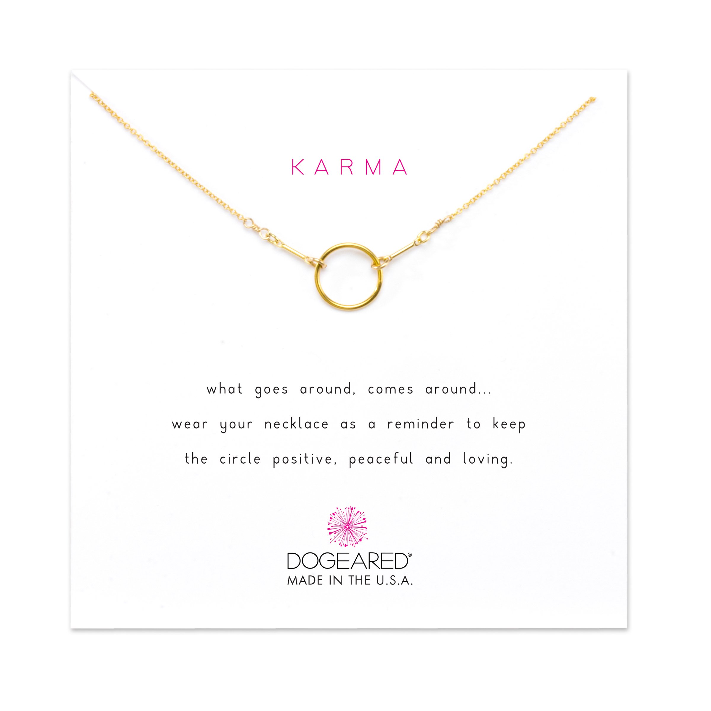 Dogeared Gold Dipped Original Classic Karma 16'' with 2'' Extender Necklace