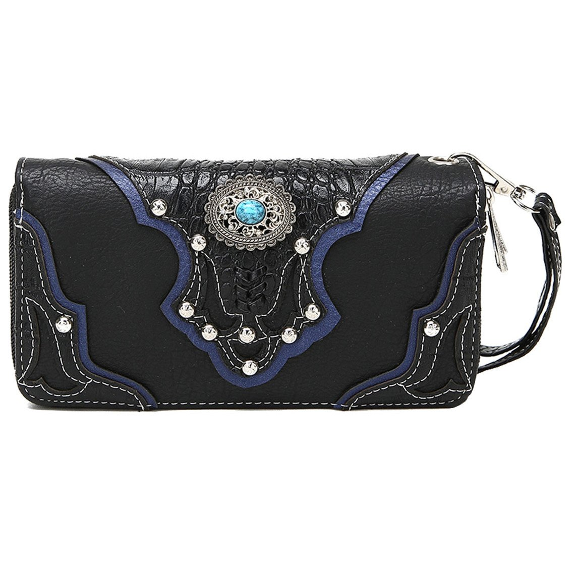 Conchos Studded Crocodile Laser Cut Cowgirl Western Style Country Purse Wrist Strap Women Wristlet Wallet (Black)