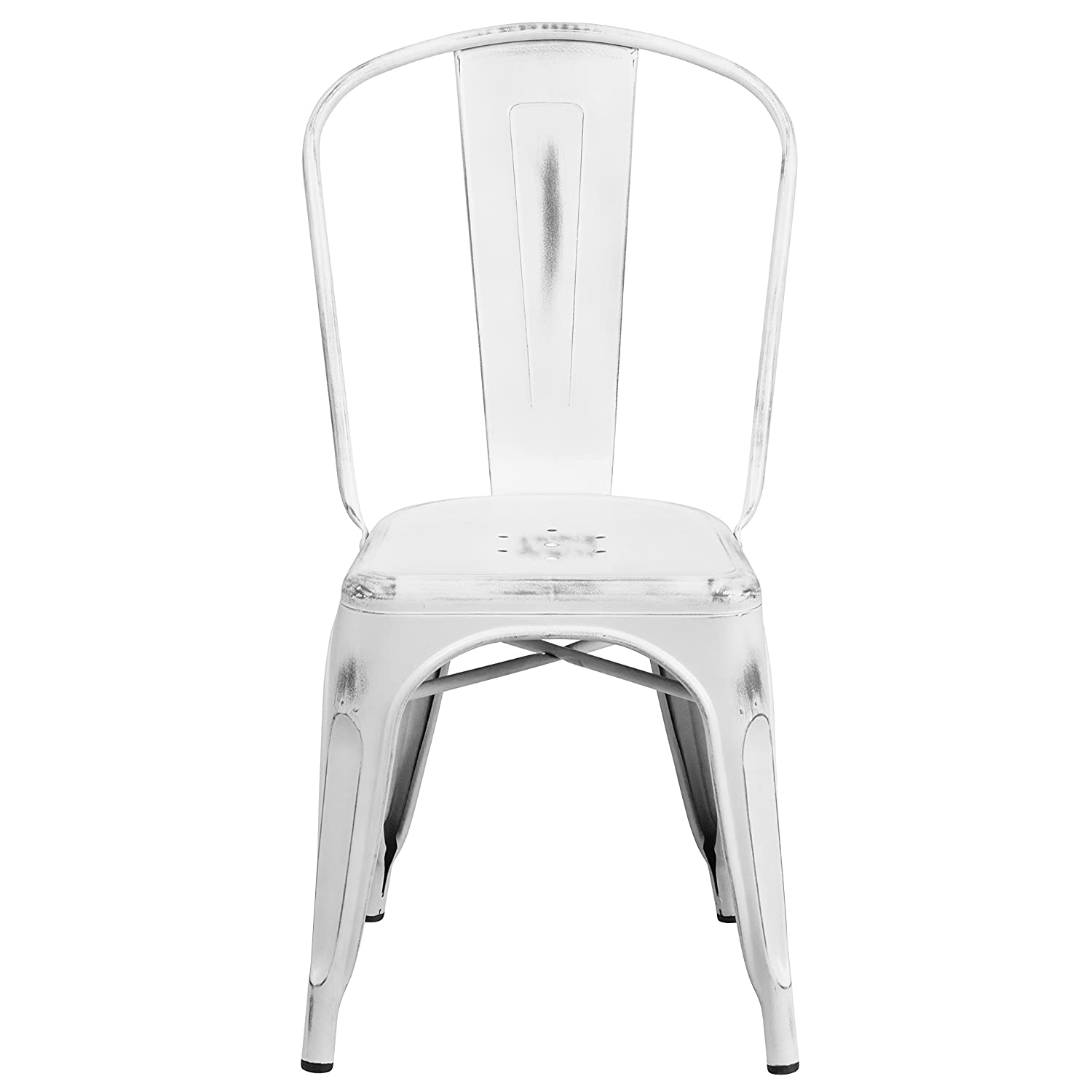 Metal outdoor stacking chairs - Amazon Com Flash Furniture Distressed White Metal Indoor Outdoor Stackable Chair Chairs