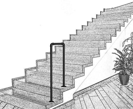 KDJJH 2 Pasos Pasamanos Escalera, en Forma de U Barandilla Pasamanos Tubo de Industrial Pasamanos Escalera Pasamanos para Escaleras,Black_85cm(2.8ft): Amazon.es: Hogar