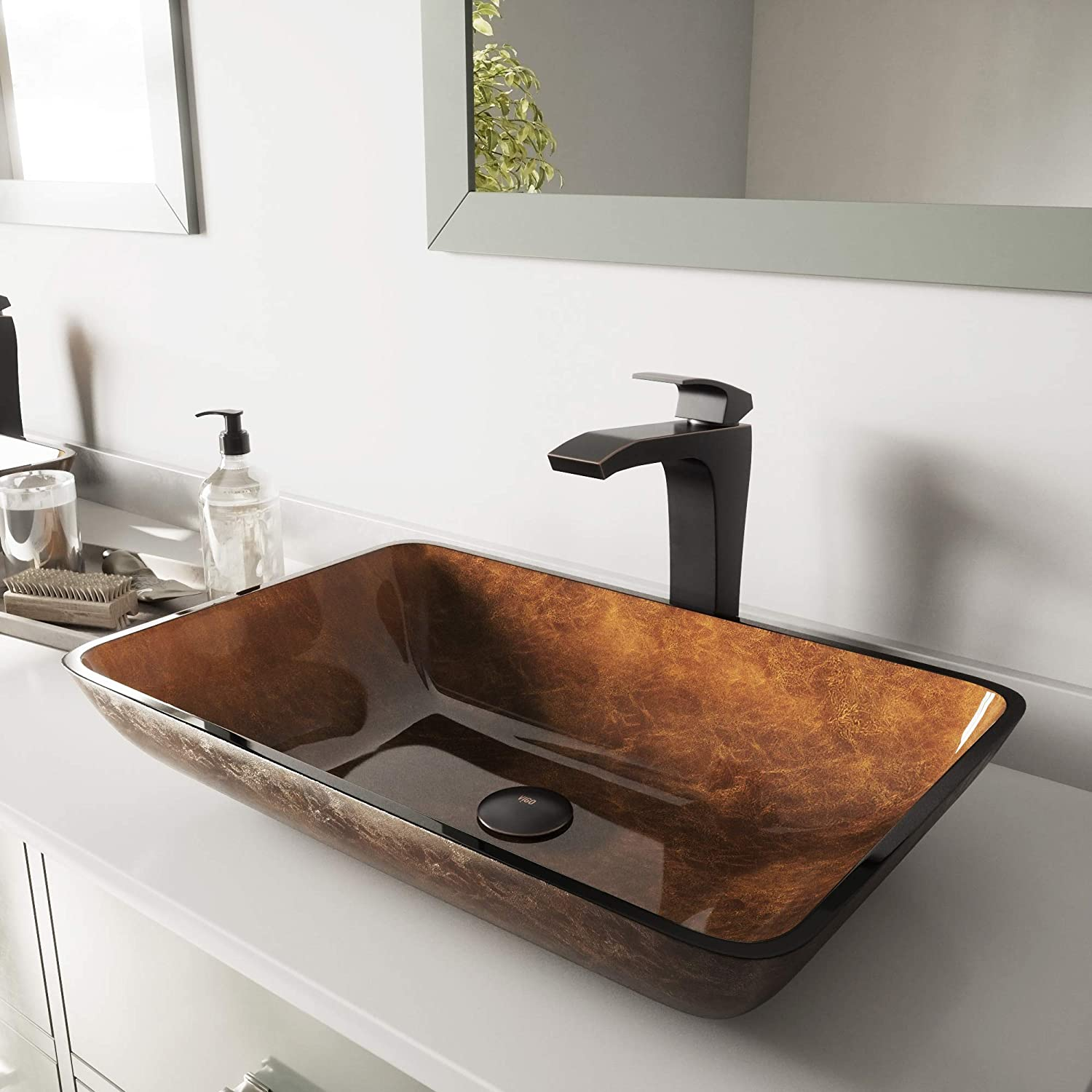 VIGO Rectangular Russet Glass Vessel Bathroom Sink and Blackstonian Vessel Faucet with Pop Up, Antique Rubbed Bronze